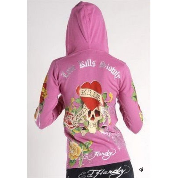 Ed Hardy Hoodies Silver Love Kill Slowly For Women