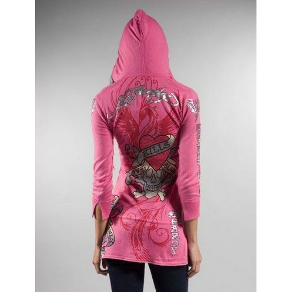 Ed Hardy Hoodies Silver Red Phoenix Pink For Women