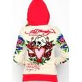 Ed Hardy Hoodies Skull Heart White Red For Women