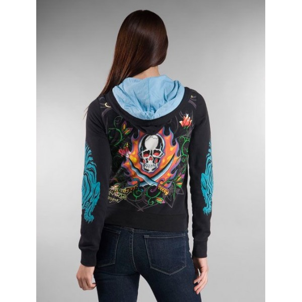 Ed Hardy Hoodies Skull Pirate Black For Women