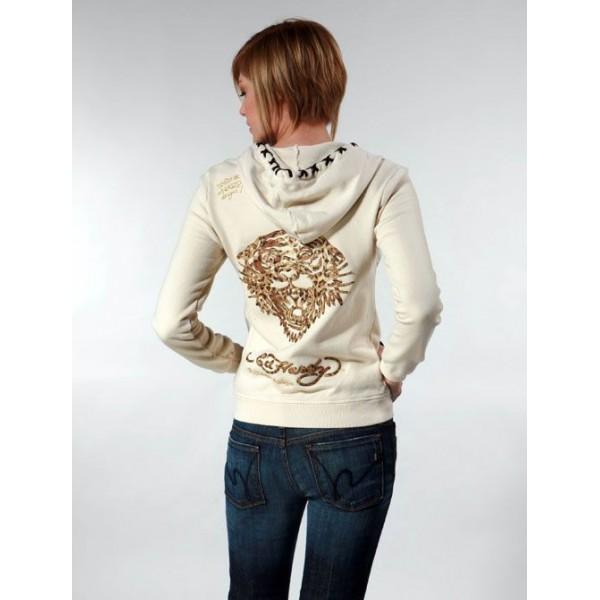 Ed Hardy Hoodies Tiger Print Sand For Women