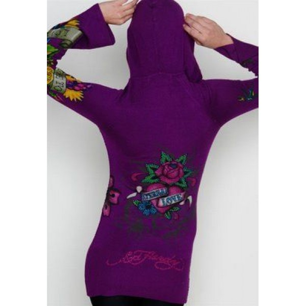 Ed Hardy Hoodies True Love Purple For Women