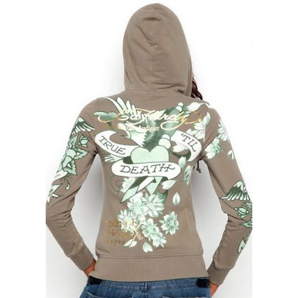 Ed Hardy Hoodies True Til Death Grey For Women