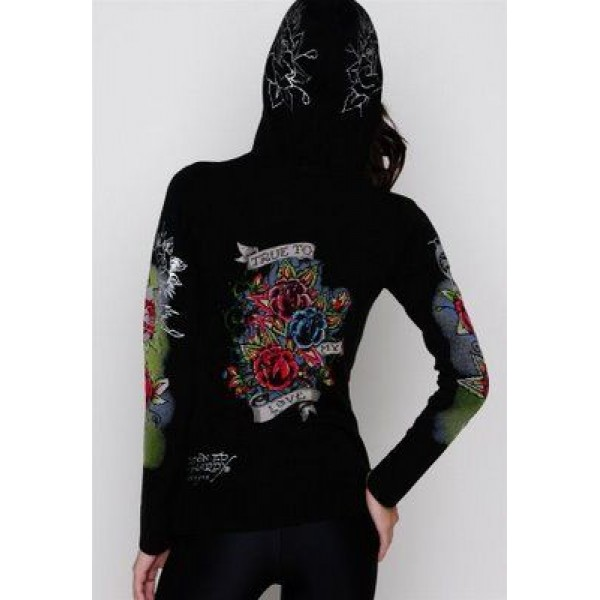 Ed Hardy Hoodies True To My Love Black For Women