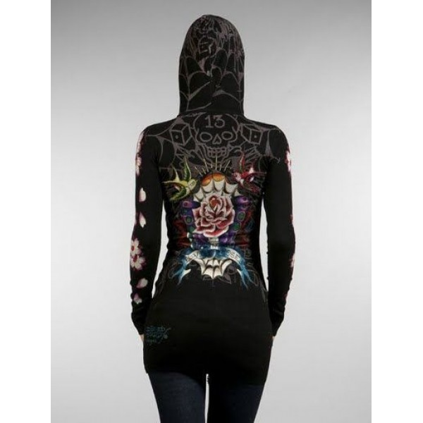 Ed Hardy Long Hoodies Love And Roses Black For Women
