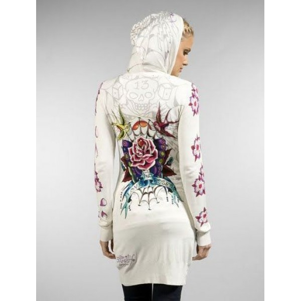 Ed Hardy Long Hoodies Love And Roses White For Women