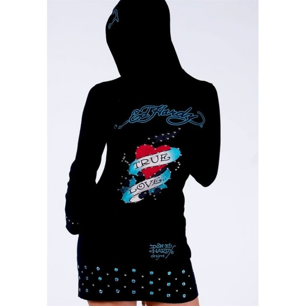 Ed Hardy Long Hoodies True Love Black For Women