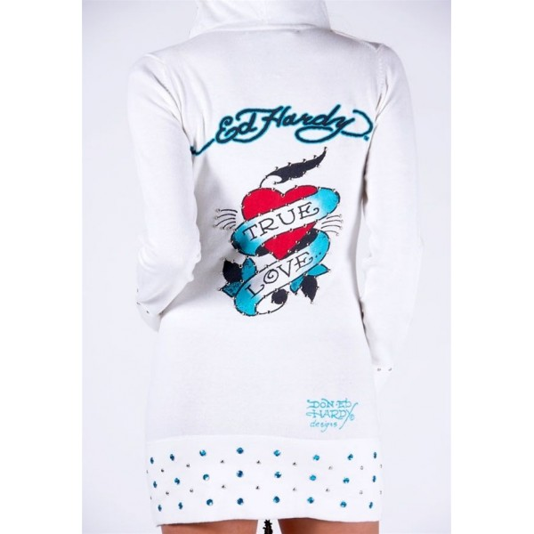 Ed Hardy Long Hoodies True Love White For Women