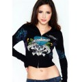 Ed Hardy Short Hoodies Cross Love Black For Women