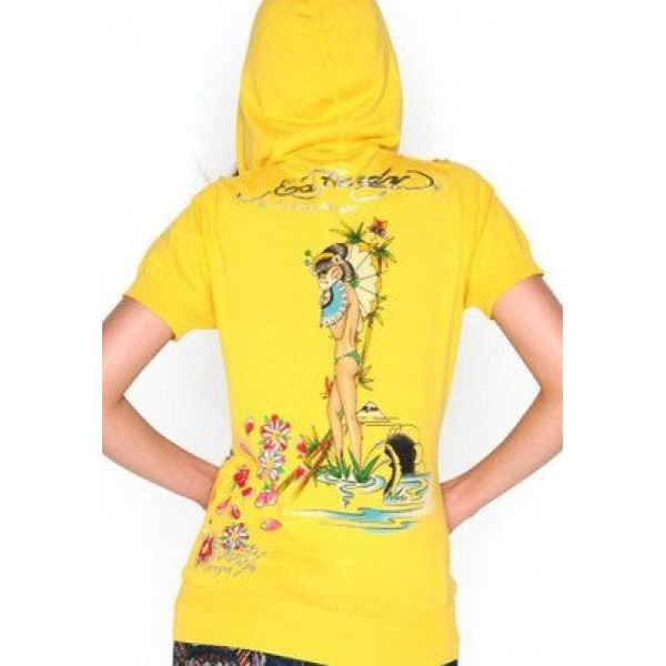 Ed Hardy Short Hoodies Geisha Yellow For Women