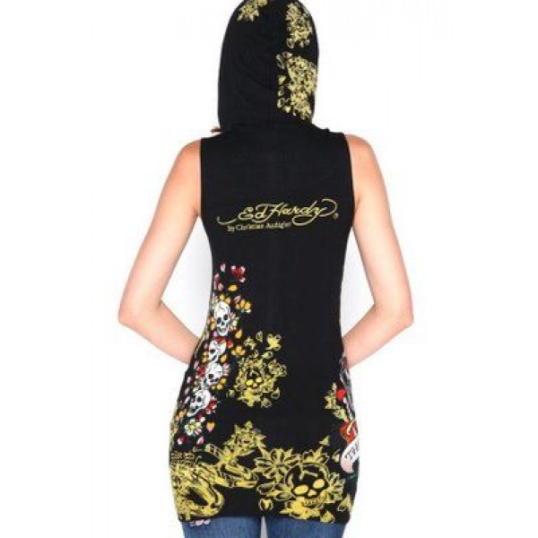 Ed Hardy Sleeveless Hoodies Yellow Black For Women