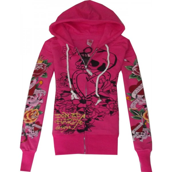 Hoodies Ed Hardy Wear For Women LKS Rose Red