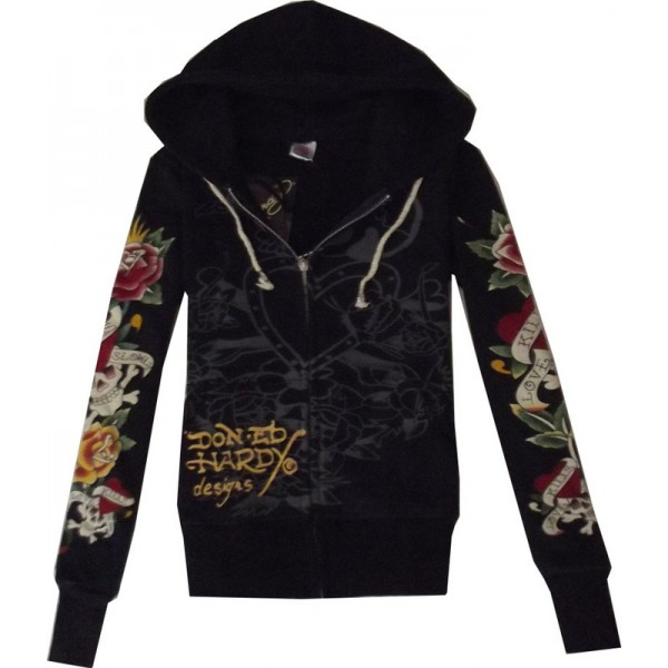 Hoodies For Women Ed Hardy Outlet Store LKS Black