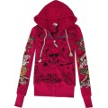 Hoody For Women Ed Hardy Plus Size Rose Red
