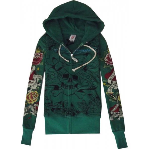 Ladies Hoodies UK Ed Hardy Tatoos Green