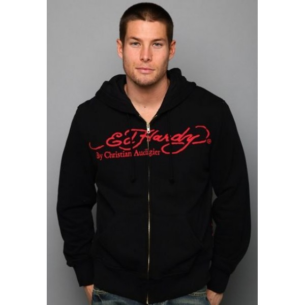 Mens Don Ed Hardy Hoody Original Black Death Love