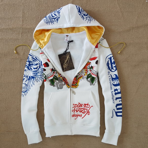 Mens ED Hardy Hoodies Skull Tiger In White Online Sale