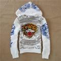 Mens ED Hardy Hoodies Skull Tiger In White Online Sale