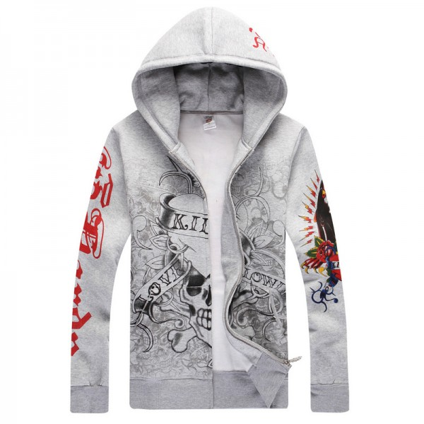 Mens Ed Hardy Cheap Hoodies UK Shop Grey LKS