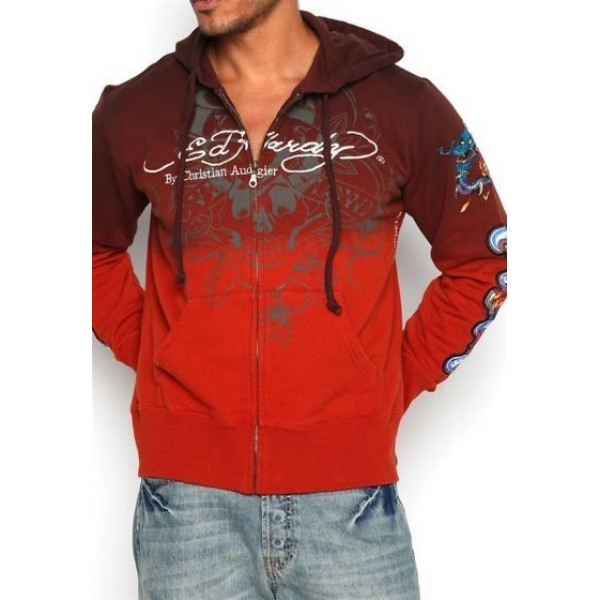 Mens Ed Hardy Hoodies Clothing UK Red LKS