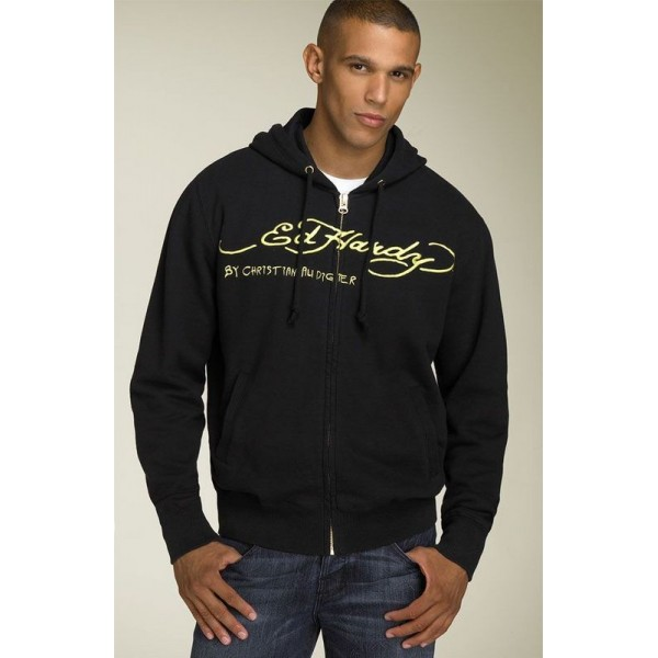 Mens Ed Hardy Outlet Hoodies Black LKS Stores