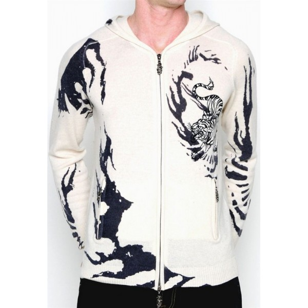Mens Ed Hardy Sale Hoodies Translucent Tiger White USA