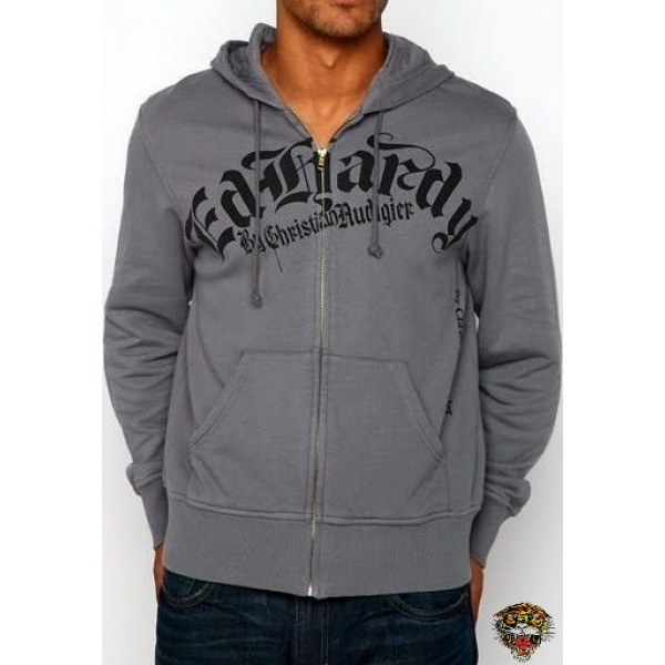 Mens Grey Ed Hardy Hoodies Dagger Skull UK Outlet