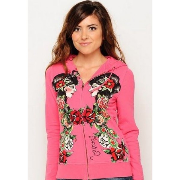 Pink Beauty Hoodies Clearance Ed Hardy For Women
