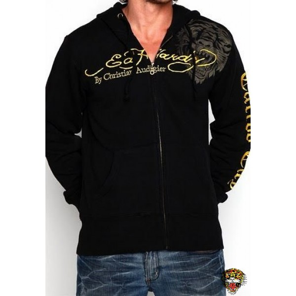 Rose Tiger Ed Hardy Prints Hoodie Mens USA Black