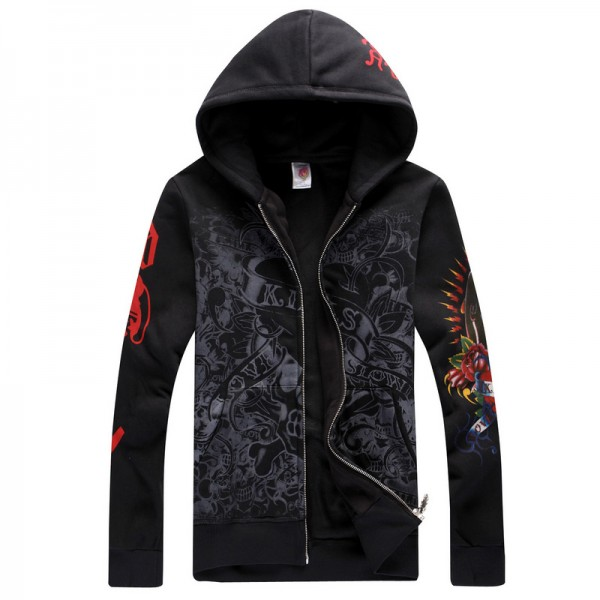 Sale Christian Ed Hardy Prints Hoodies Black LKS
