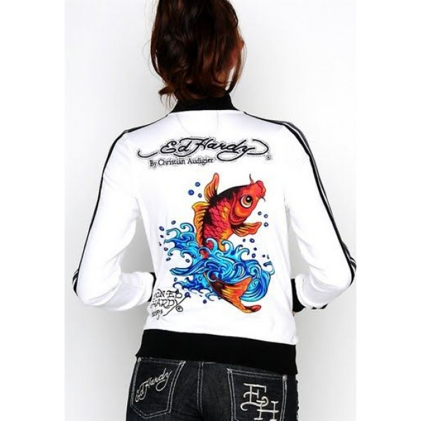 Ed Hardy Jackets Cyprinoid White For Women