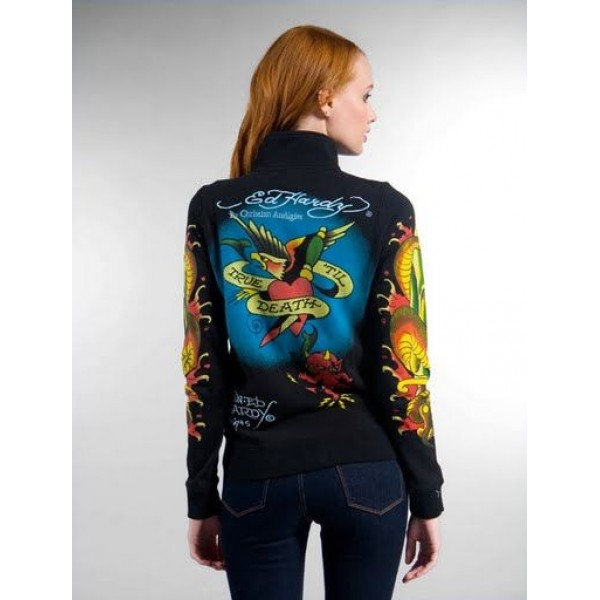 Ed Hardy Jackets Love Kill Slowly Black For Women