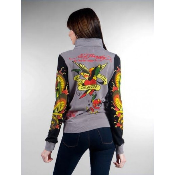 Ed Hardy Jackets Love Kill Slowly Grey For Women