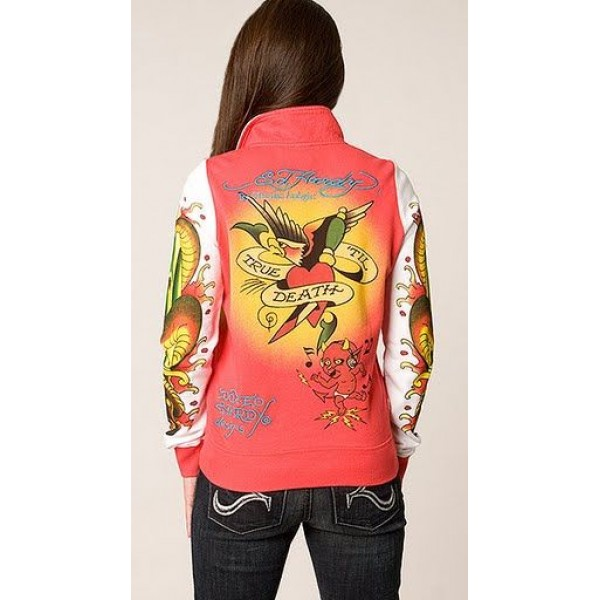 Ed Hardy Jackets Love Kill Slowly Orange For Women