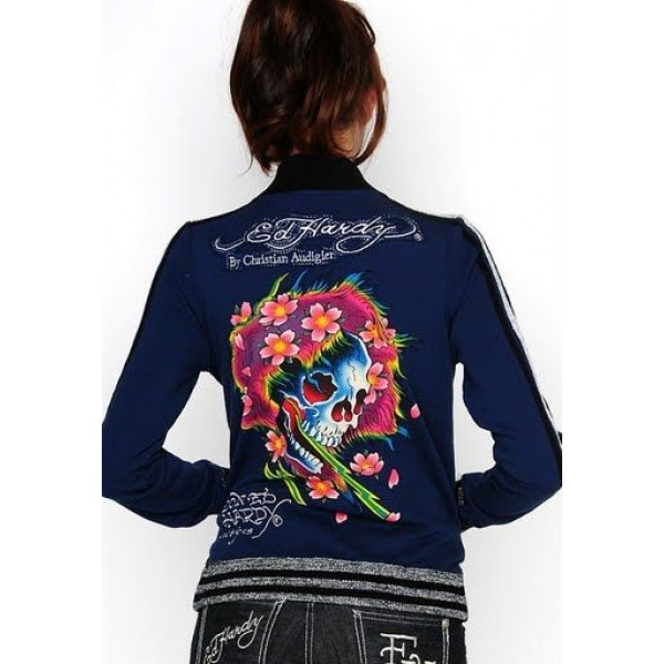 Ed Hardy Jackets Skull Flower Blue For Women