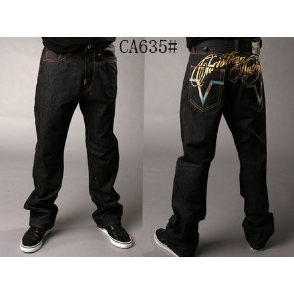 Christian Ed Hardy Singapore Men Jeans Gold Logo