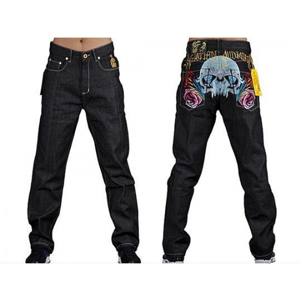 Ed Hardy CA San Francisco Men Jeans Skull Flower