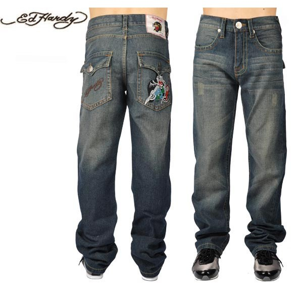 Ed Hardy Jeans Beauty Blue Denim For Men