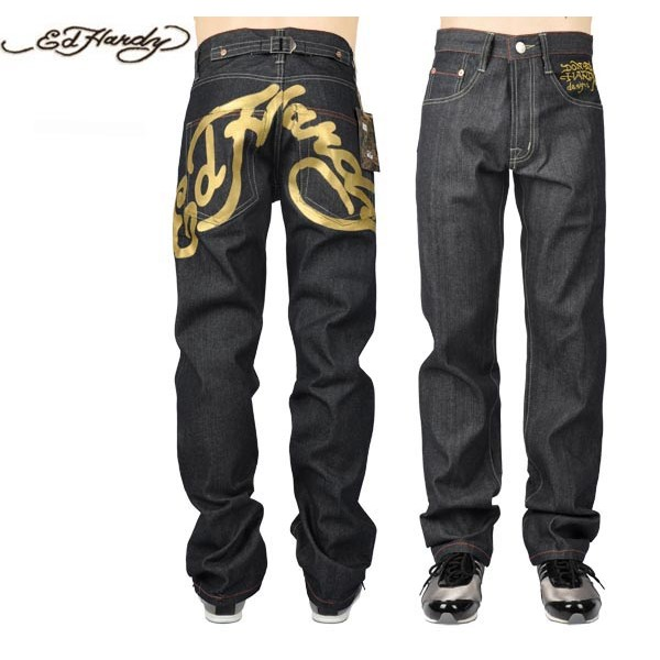 Ed Hardy Jeans Big ED Logo Gold Denim For Men