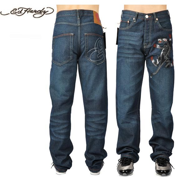 Ed Hardy Jeans Black Leopard Blue Denim For Men