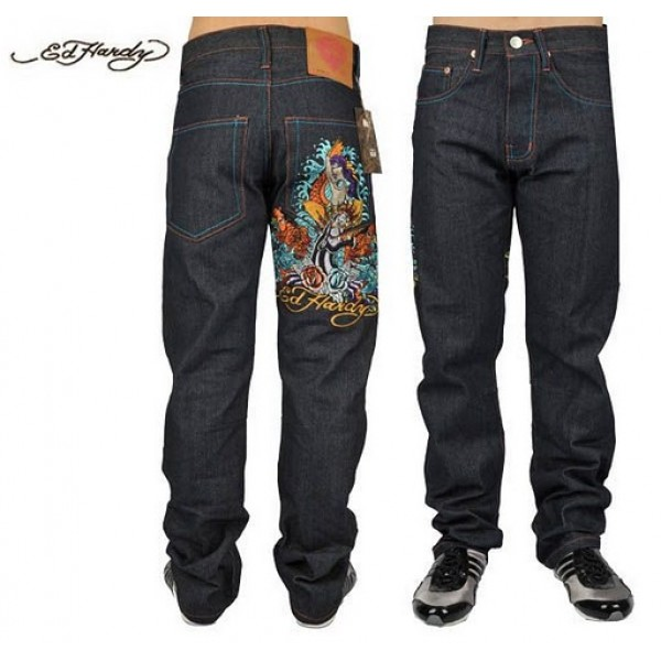 Ed Hardy Jeans Black Leopard Mermaid Denim For Men