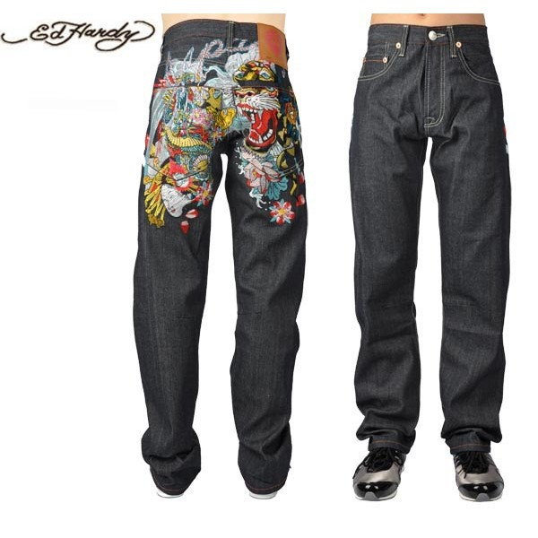 Ed Hardy Jeans Blend Black Denim For Men