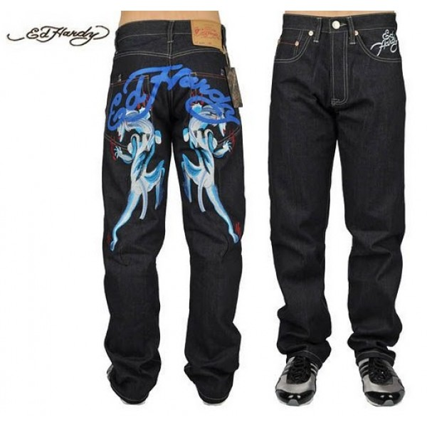 Ed Hardy Jeans Blue Leopard Black Denim For Men