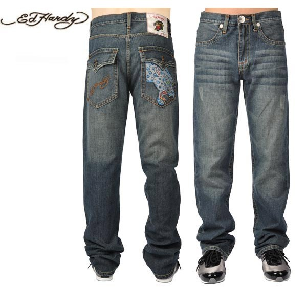 Ed Hardy Jeans Blue Leopard Blue Denim For Men