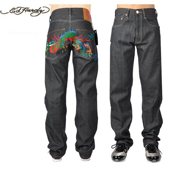 Ed Hardy Jeans China Dragon Black Denim For Men