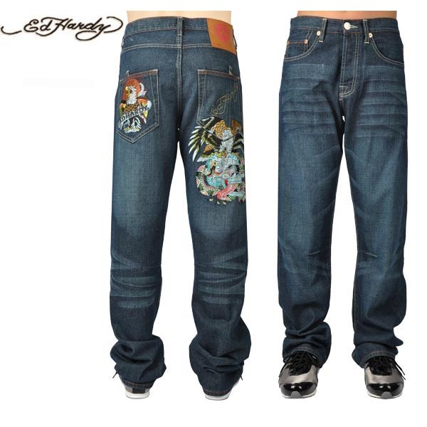 Ed Hardy Jeans Cobra Eagle Blue Denim For Men
