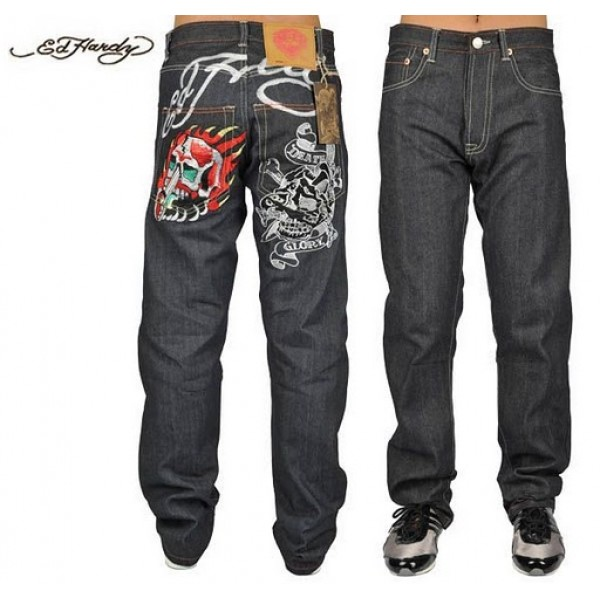 Ed Hardy Jeans Death Or Glory Black Denim For Men