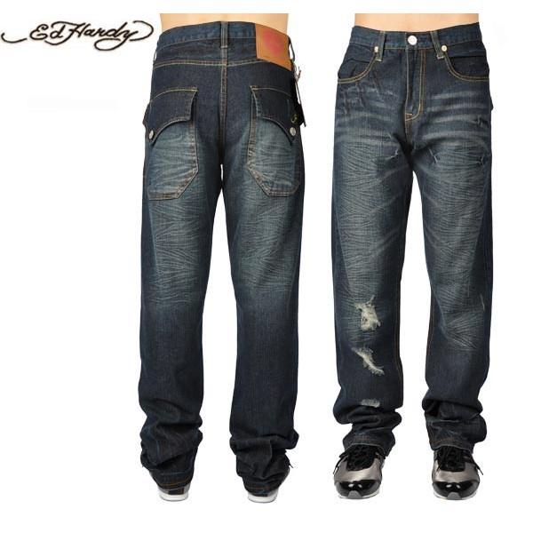 Ed Hardy Jeans Distress Blue Denim For Men