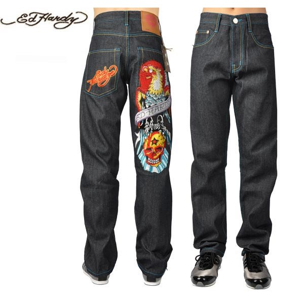 Ed Hardy Jeans Eagle Skull Black Denim For Men