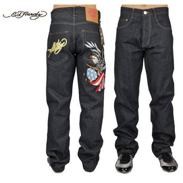 Ed Hardy Jeans Eagle USA Blue Denim For Men